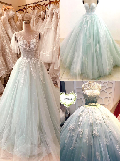 Pastel mint green floral lace flutter sleeve ball gown wedding dress with  court train & glitter tulle